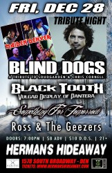Tribute Night with Maiden Denver, Blind Dogs (A Tribute To Soundgarden), Black Tooth (Tribute to Pantera), Something For Tomorrow, Ross and the Geezers